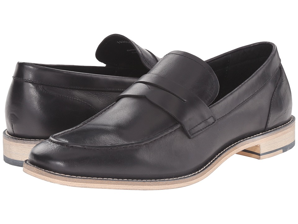 RUSH by Gordon Rush - Clark (Black Leather) Men's Slip on Shoes