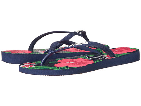 Havaianas - Slim Floral Flip Flop (Navy Blue) Women's Sandals
