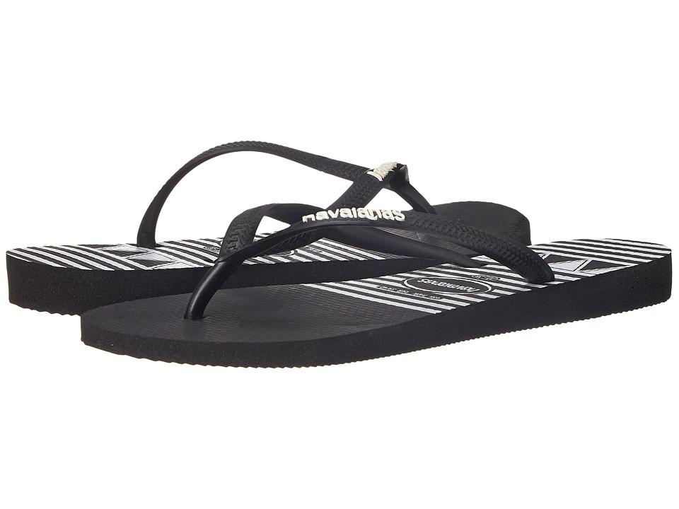 Havaianas Slim Logo Stripes Flip Flops (Black) Women