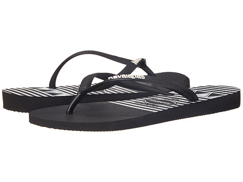 Havaianas - Slim Logo Stripes Flip Flops (Black) Women's Sandals
