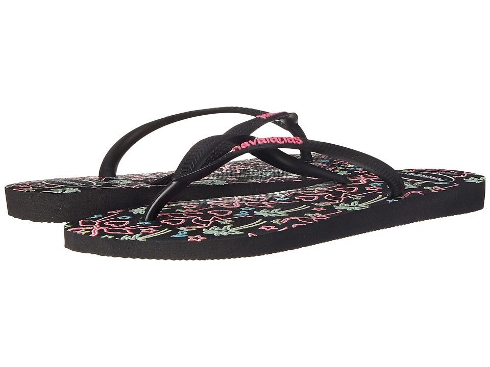 Havaianas Slim Flamingo Flip Flops (Black) Women