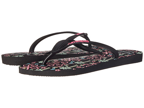 Havaianas - Slim Flamingo Flip Flops (Black) Women's Sandals