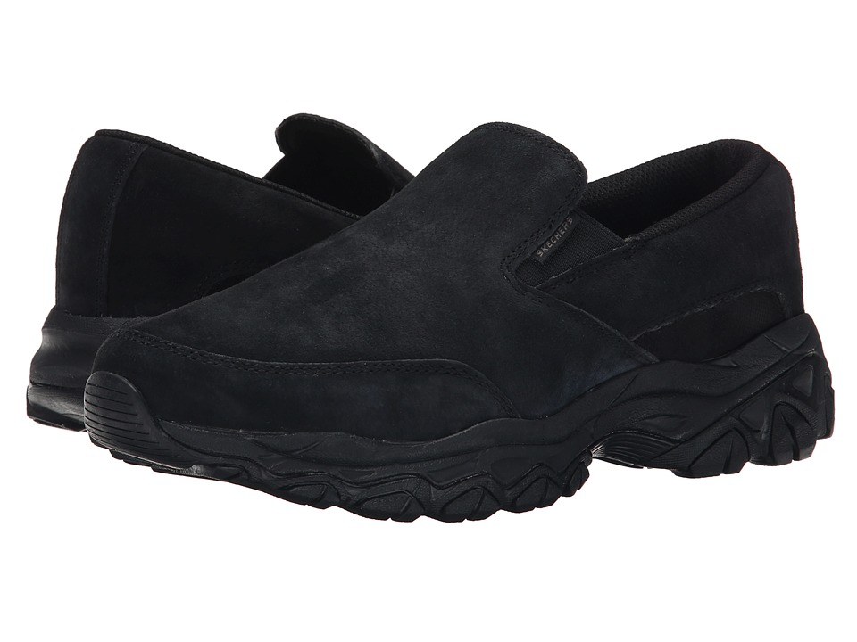 SKECHERS - Afterburn M. Fit Restampt (Black) Men's Slip on Shoes