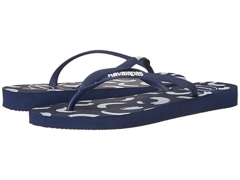 Havaianas - Slim Swirl Flip Flops (Navy Blue) Women's Sandals