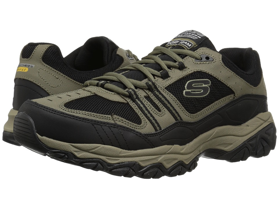 SKECHERS - Afterburn M. Fit Strike Off (Pebble/Black) Men's Lace up casual Shoes