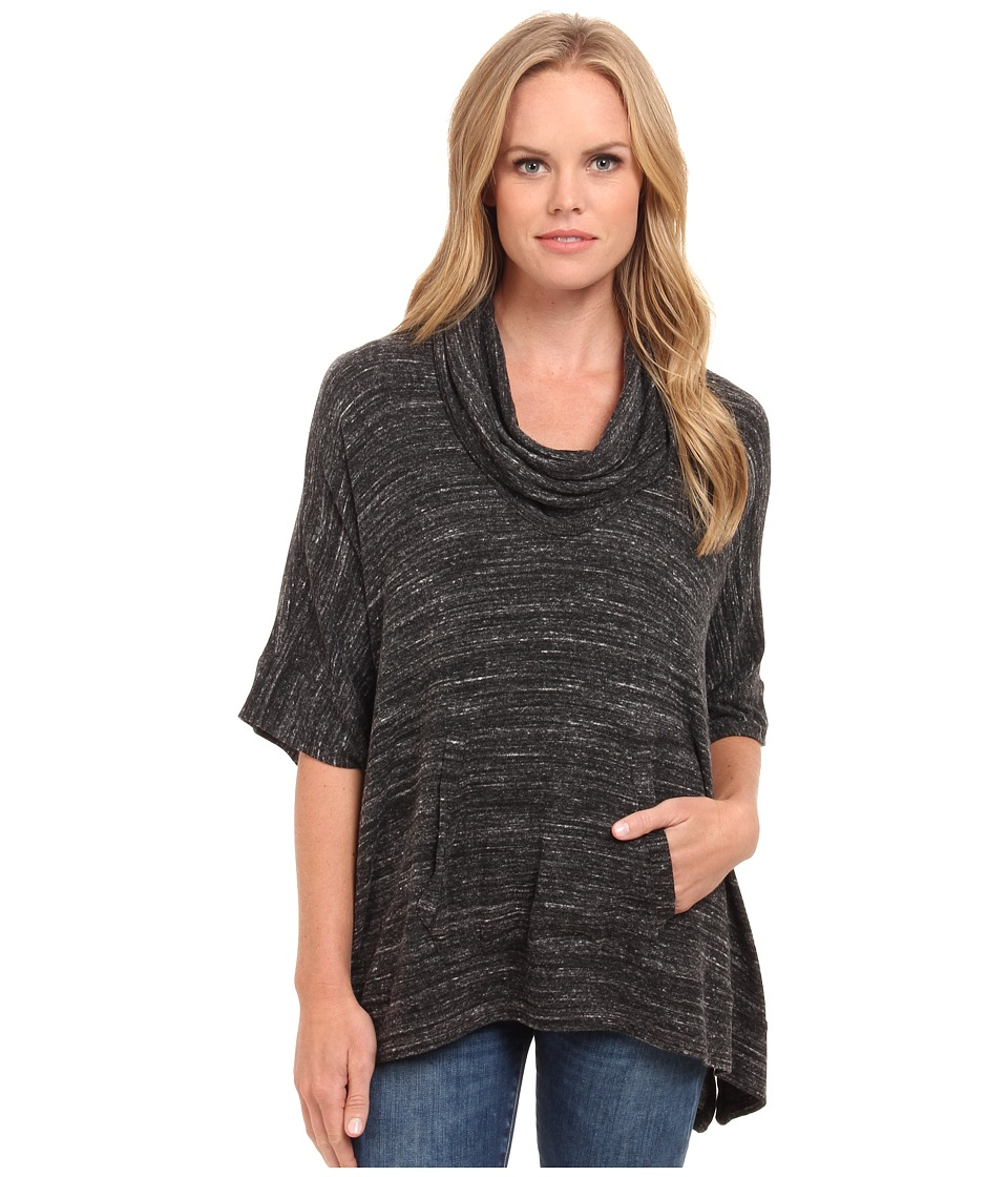 Splendid - Brushed Tri Blend Poncho (Charcoal) Women