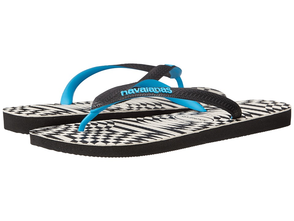 Havaianas - Top Optical Zig Zag Sandal (Black/Turquoise) Men's Sandals