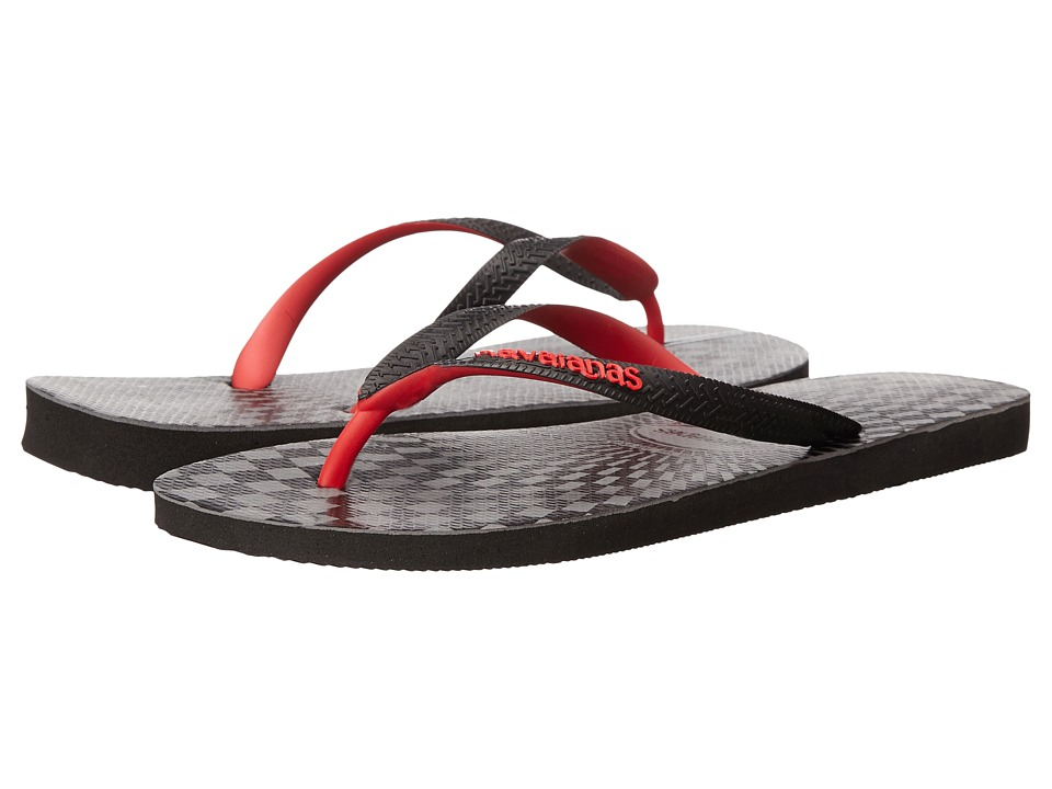 Havaianas - Top Optical Zig Zag Sandal (Black/Ruby Red) Men's Sandals