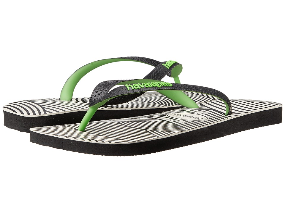 Havaianas - Top Optical Zig Zag Sandal (Black/Neon Green) Men's Sandals