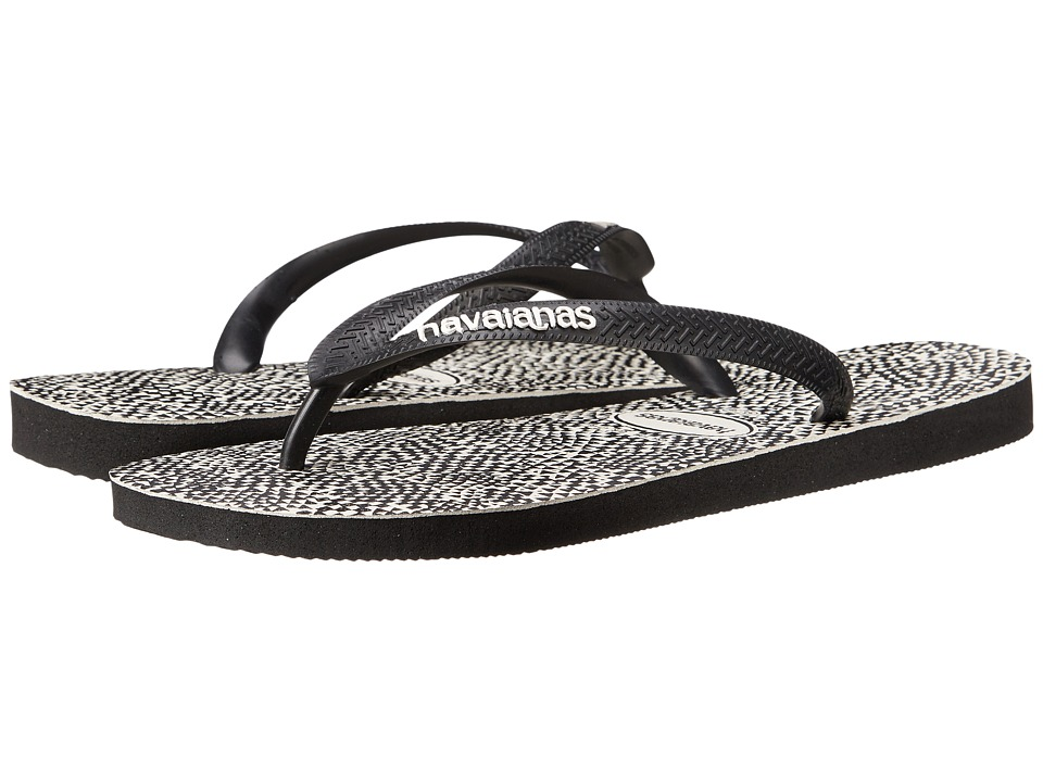 Havaianas - Top Static Flip Flops (Black/White) Men