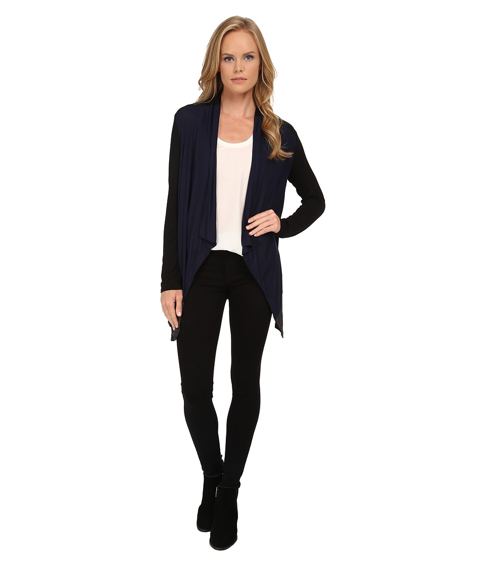 Splendid - Color Blocked Drapey Lux Cardigan (Navy/Black/Charcoal) Women's Sweater