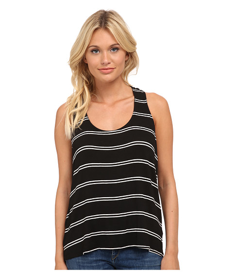 Splendid - Drape Back Tank Top (Black/White) Women's Sleeveless