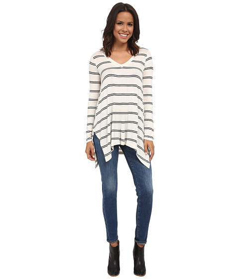Splendid - Canvas Double Stripe Tunic (White/Black) Women's Blouse
