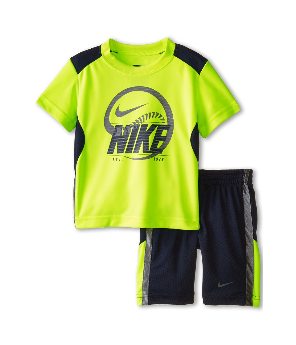 Nike Kids - Just Do It Poly Short Sleeve Shorts Set (Little Kids) (Obsidian) Boy