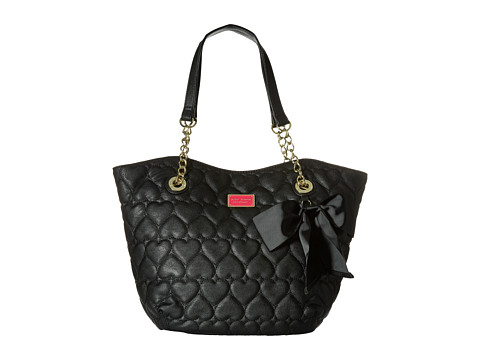 Betsey Johnson - Be Mine Dip Tote (Black) Tote Handbags