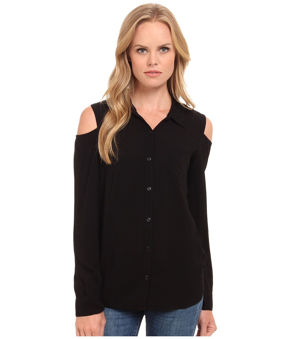 Splendid - Rayon Voile Cold Shoulder Shirt (Black) Women's Clothing