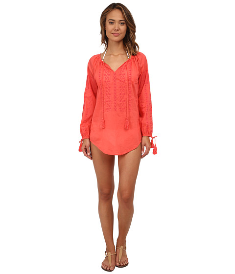 Nanette Lepore - Calcutta Peasant Tunic Cover-Up (Coral) Women's Swimwear