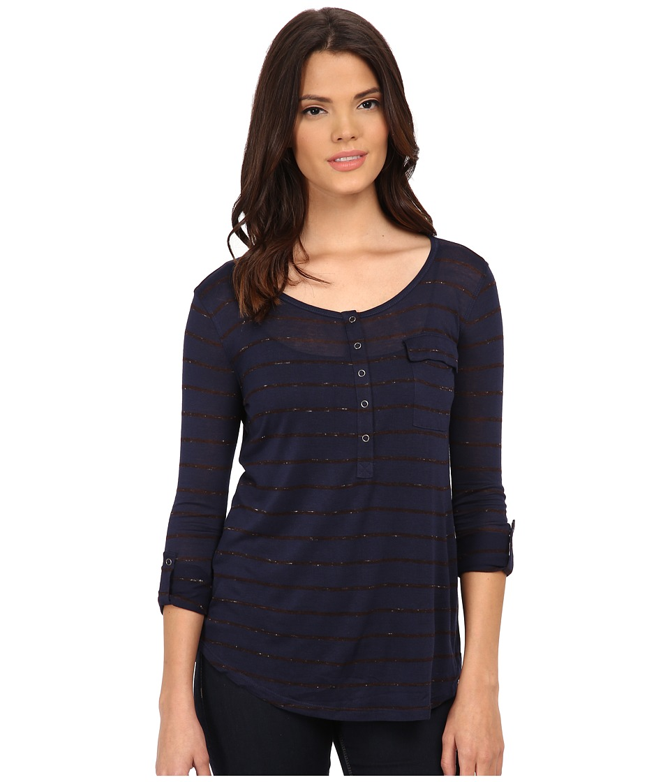 Splendid - Striped Speckled Melange Henley (Navy/Aubergine) Women's Clothing