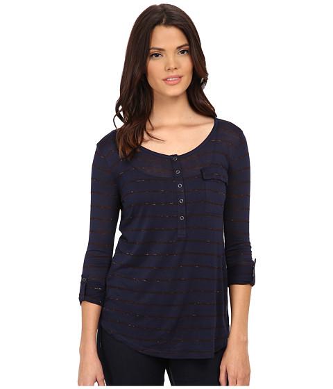 Splendid - Striped Speckled Melange Henley (Navy/Aubergine) Women's Clothing