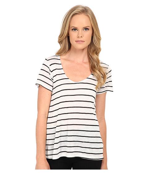 Splendid - Striped Speckled Melange Tee (Heather White/Black) Women's Clothing