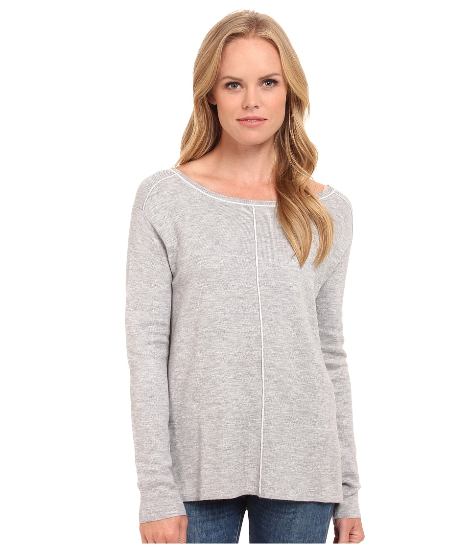 Splendid - Double Face Pullover (Light Heather Grey/White) Women's Clothing