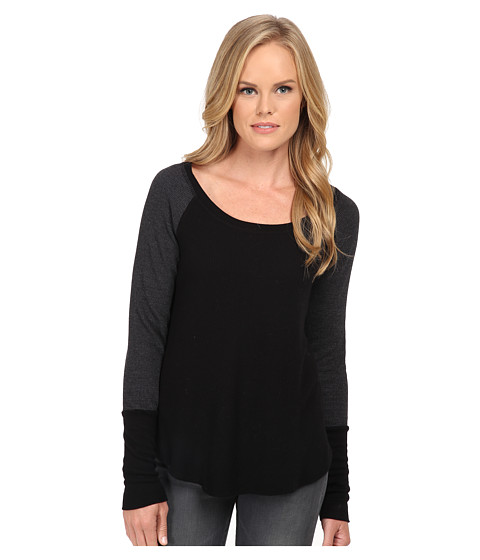 Splendid - Thermal Baseball Tee (Black) Women