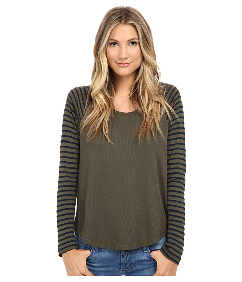 Splendid - Thermal Mixed Venice Stripe Top (Olive) Women's Clothing
