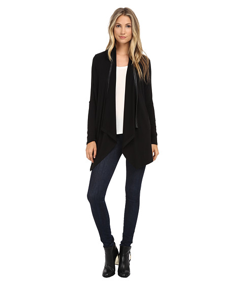 Splendid - Tencel Jersey with Faux Leather Cardigan (Black) Women's Clothing