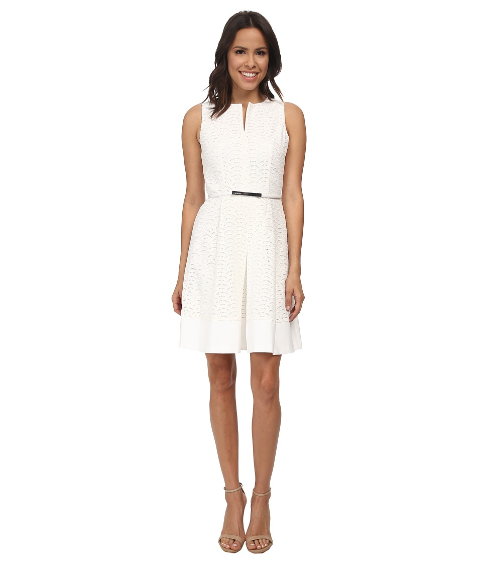 Calvin Klein - Scalope Eyelet Dress (Soft White) Women's Dress