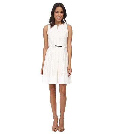 Calvin Klein - Scalope Eyelet Dress (Soft White) Women's Dress