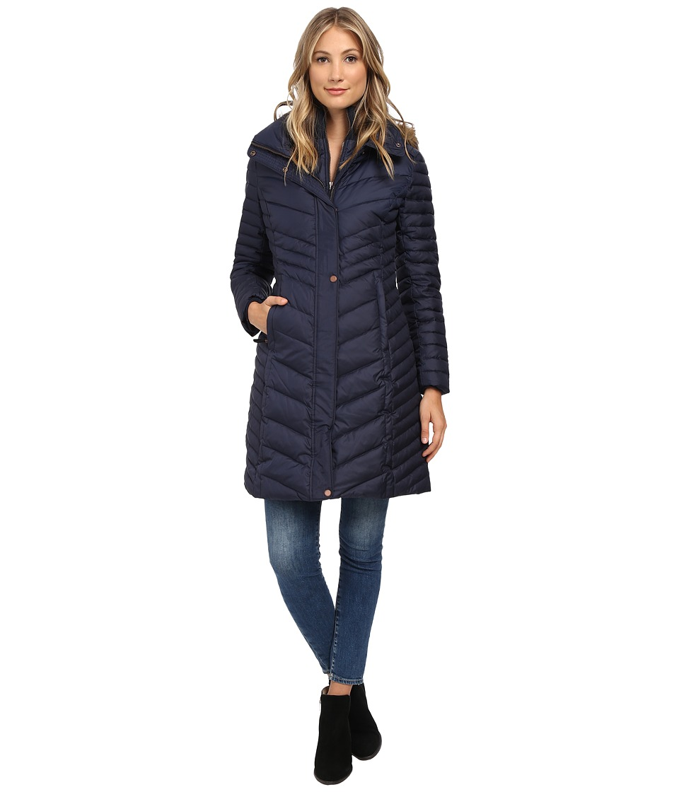 Marc New York by Andrew Marc - Karla 37 Chevron Down w/ Faux Fur Hood (Denim) Women's Coat