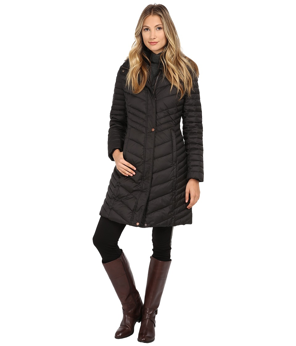 Marc New York by Andrew Marc - Karla 37 Chevron Down w/ Faux Fur Hood (Black) Women's Coat