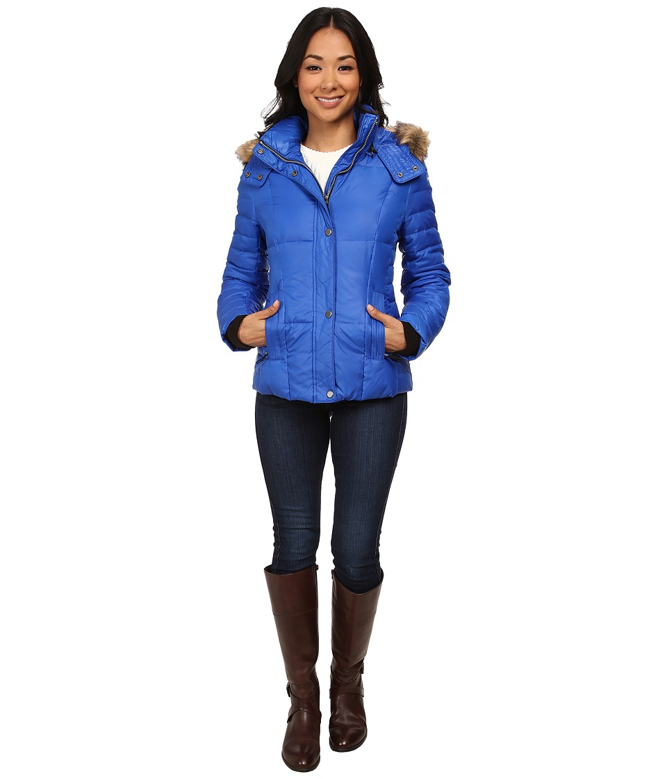 Marc New York by Andrew Marc - Aubrey 25 Block Puffer w/ Faux Fur Hood (Cobalt) Women