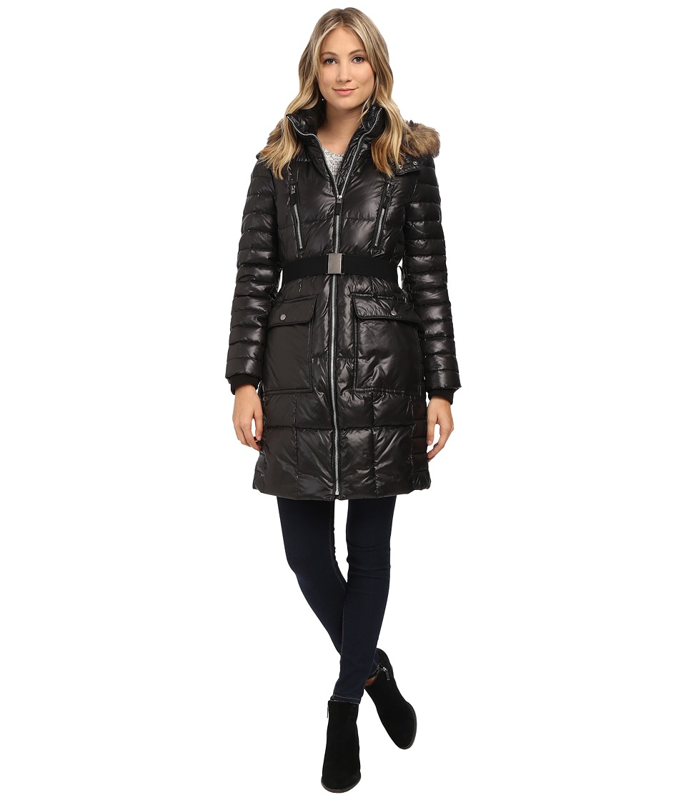 Marc New York by Andrew Marc - Addy 37 Block Puffer w/ Belt and Faux Fur Hood (Black) Women