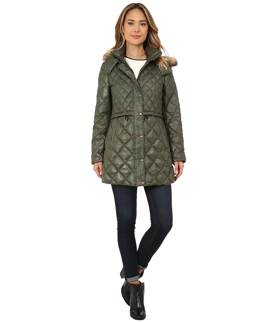 Marc New York by Andrew Marc Kava 32 Diamond Quilted Down w/ Faux Fur Hood (Olive) Women