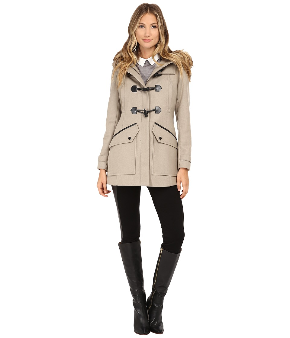 Marc New York by Andrew Marc - Cara 30 Pressed Wool Toggle w/ Faux Fur Hood (Oatmeal) Women's Coat