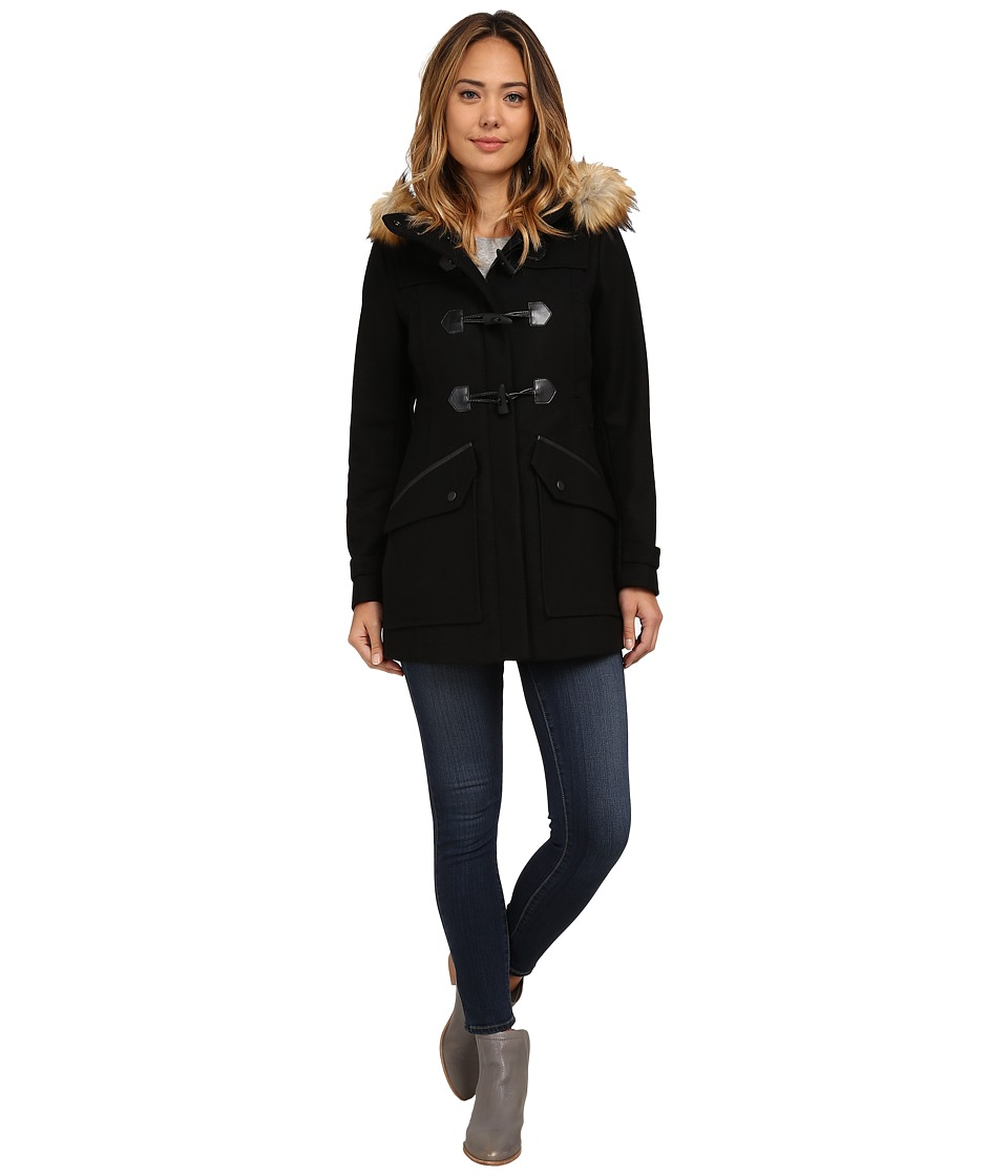 Marc New York by Andrew Marc - Cara 30 Pressed Wool Toggle w/ Faux Fur Hood (Black) Women's Coat