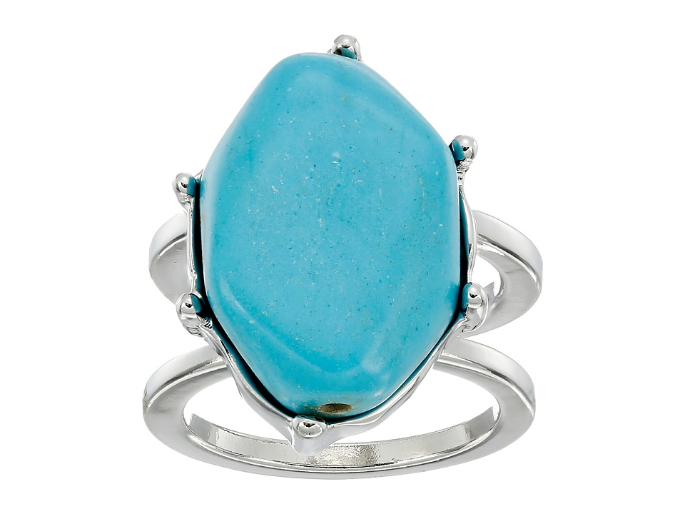 GUESS - Genuine Turquoise Stone Ring (Silver/Turquoise) Ring