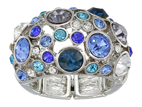 GUESS - Clustered Stone Dome Ring (Silver/Blue) Ring