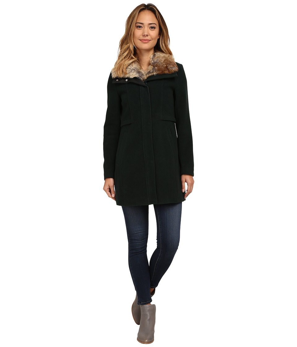 Marc New York by Andrew Marc - Haven 34 Wool Plush w/ Faux Fur Collar (Pine) Women's Coat