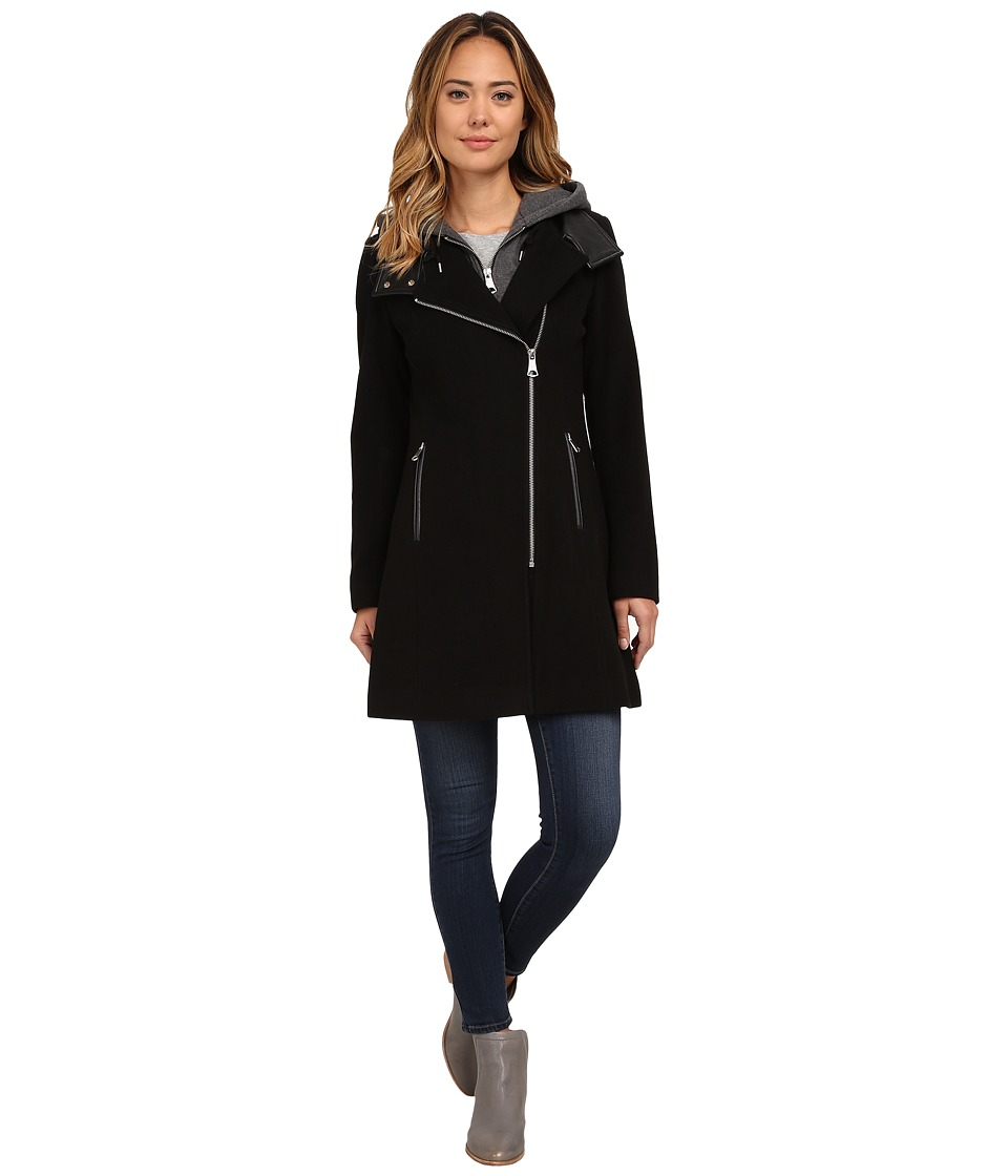 Marc New York by Andrew Marc - Hilary 34 Wool Plush w/ Jersey Hood (Black) Women's Coat