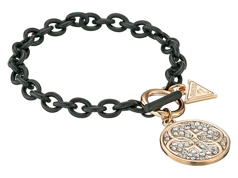 GUESS - Link Chain Toggle Bracelet with Stone Disc Drop (Gold/Matte Jet/Crystal) Bracelet