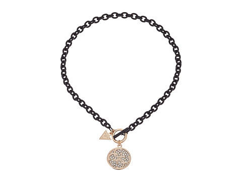 GUESS - Toggle Necklace with Stone Logo Disc (Gold/Matte Jet/Crystal) Necklace