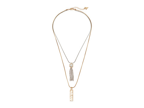 GUESS - Double Pendant Drop Necklace (Silver/Gold/Crystal) Necklace