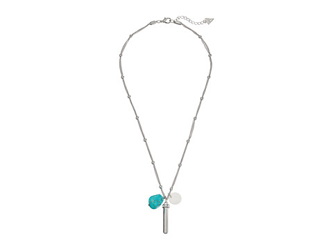 GUESS - Delicate Chain with Tassel, Stone and Disc Drops Necklace (Silver/Turquoise) Necklace