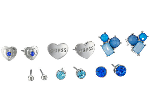 GUESS - Six Pair Stude Set with Hearts Earrings (Silver/Blue) Earring