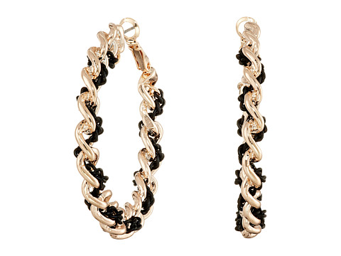 GUESS - Frozen Link Hoop with Chain Woven Through Earrings (Rose Gold/Jet) Earring