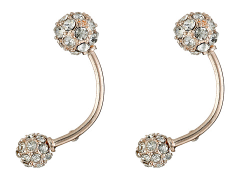 GUESS - Pave Ball Barbell Earrings (Rose Gold/Crystal) Earring