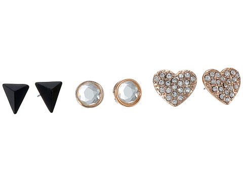 GUESS - Pearl, Triangle, Pave Heart Button Trio Earrings Set (Pearl/Rose Gold/Jet) Earring