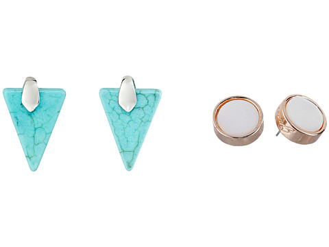GUESS - Disc and Triangle Duo Button Earrings Set (Silver/Turquoise/Rose Gold/White) Earring